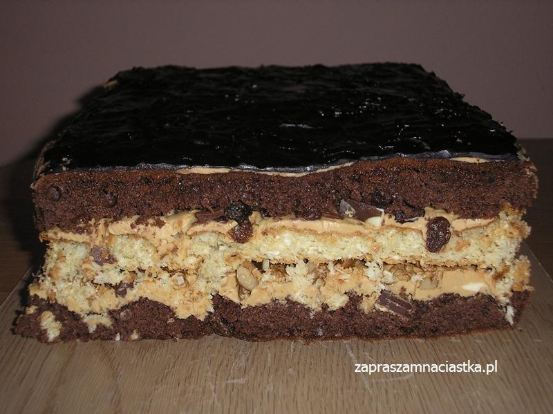 Ciasto Czekoladowo Kokosowe Z Masa Krowkowa Rodzynkami I